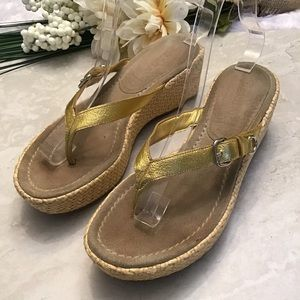 Prada Gold Metallic Raffia Wedge Flip Flops sz 7.5